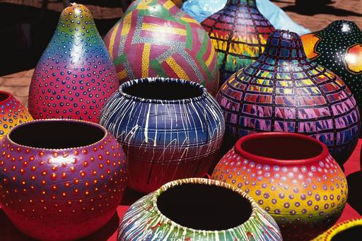 Colourful earthern pottery