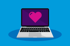 Pink heart shape image on laptop screen against blue background illustration