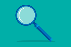 Magnifying glass against green background illustration