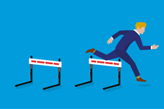 Man jumping over hurdles illustration
