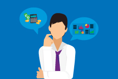 Man wearing tie, thinking about finance, money, charts and calculator - Illustration