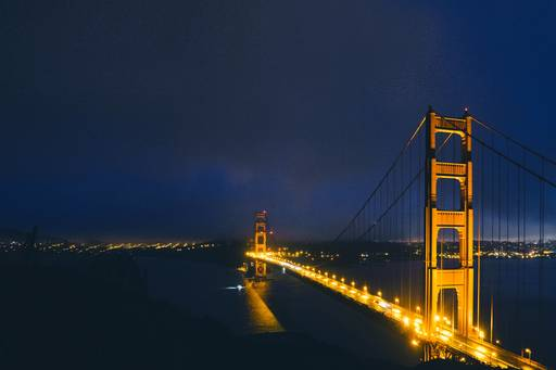 Night view of Golden gate bridge
