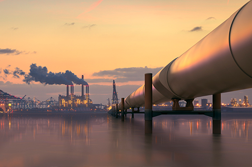 Oil pipeline in industrial district