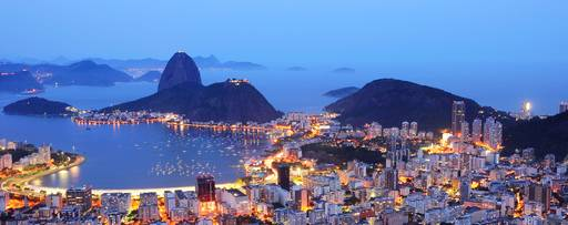 Rio de janeiro illuminated city view during night