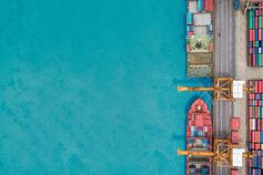 aerial view container ship