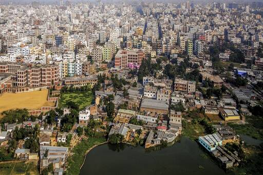 Aerial view of colourful houses of Dhaka