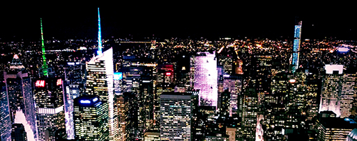 High Angle View Of Cityscape Lit Up At Night