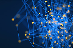 Digital golden connected dots via blue threads against blue background