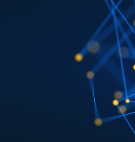 digital-golden-connected-dots-via-blue-threads-against-blue-background