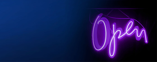 Purple neon open sign against a blue background