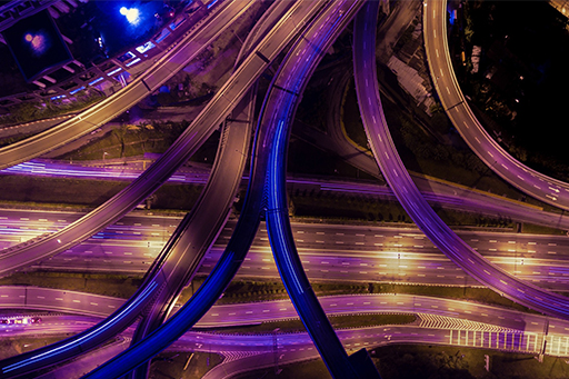 Top-view of multiple highway roads at night