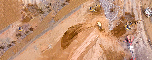 Top-view of JCB machines at construction site
