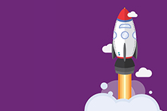 Illustration of white rocket going up against purple background