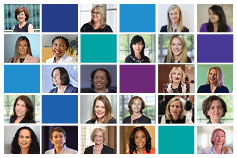 Women leaders collage with KPMG color blocks