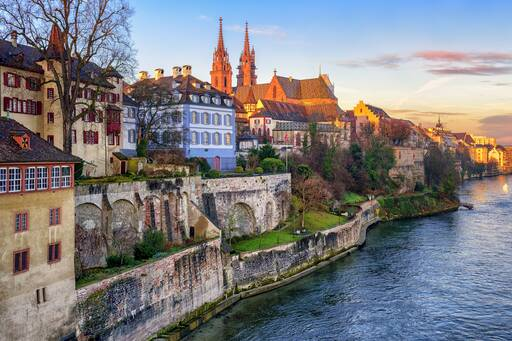Old town of Basel with Munster cathedral, Switzerland