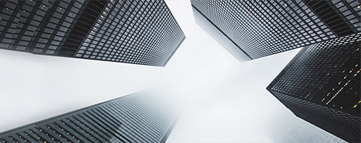 Bottom to top view of high-rise buildings