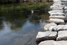 Stone path on river