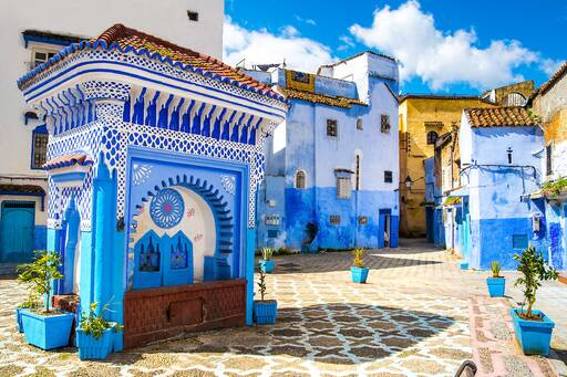 Blue-washed buildings, Morocco