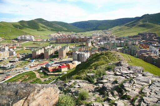 City view in the middle of mountains, Mongolia