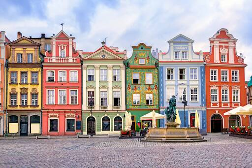 Colourful residential buildings, Poland