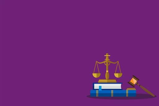 Weighing machine, book and hammer against purple background
