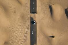 Top view of desert road