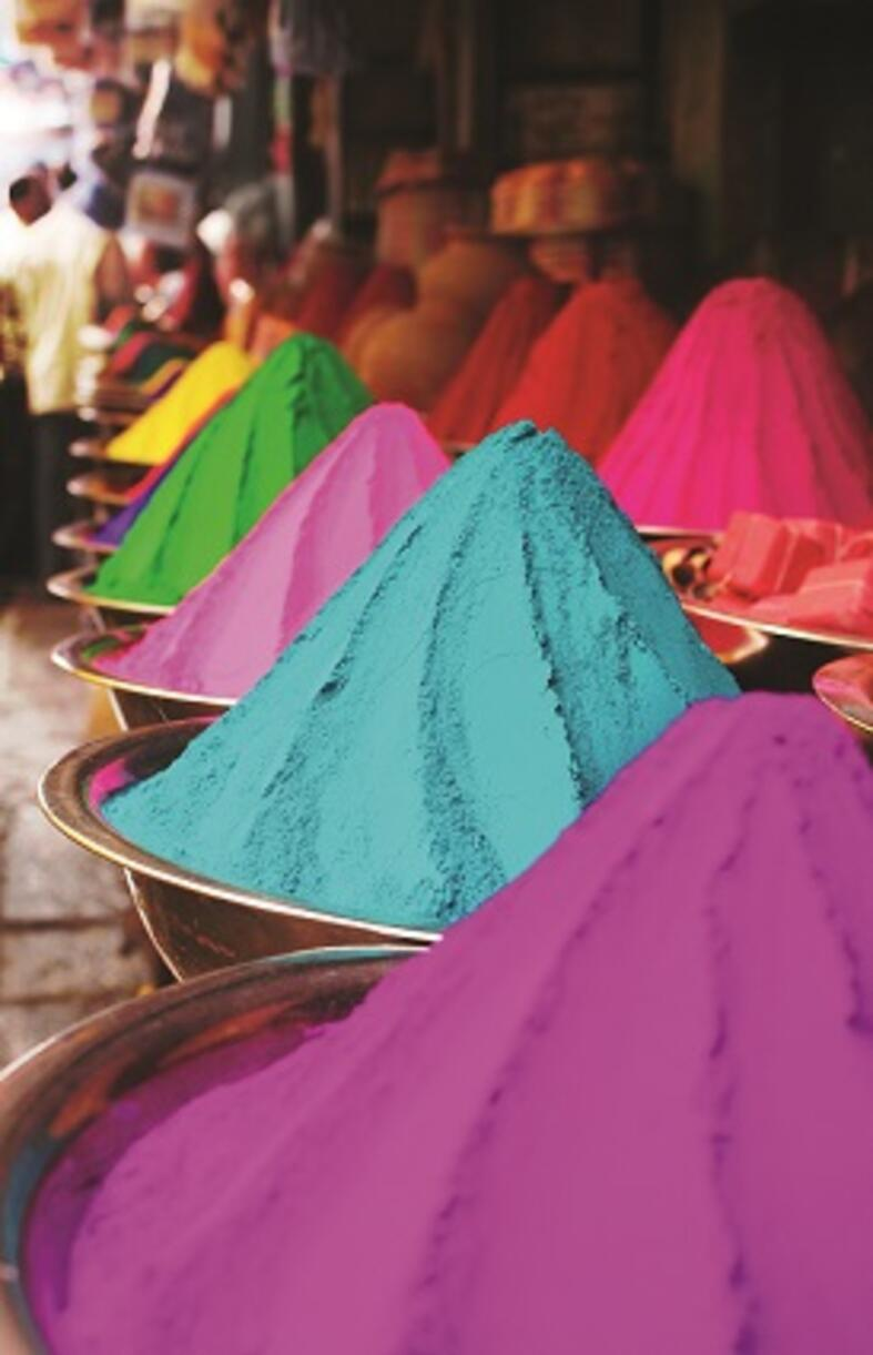 Colorful piles of finely powdered dyes