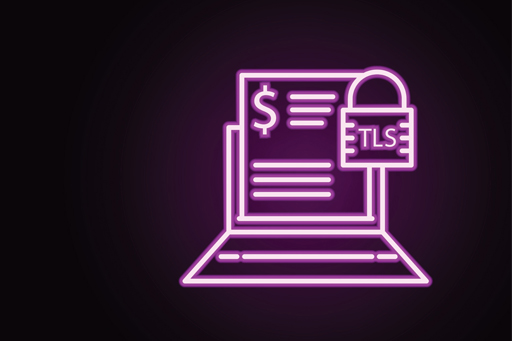 Neon illustration of a laptop showing a lock symbol and dollar sign on a black background