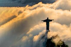 Christ Redeemer statue in Brazil with clouds