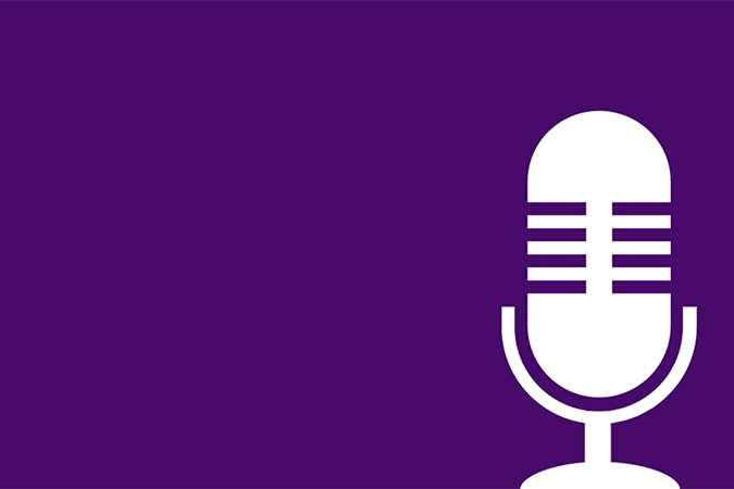 Microphone on a purple background