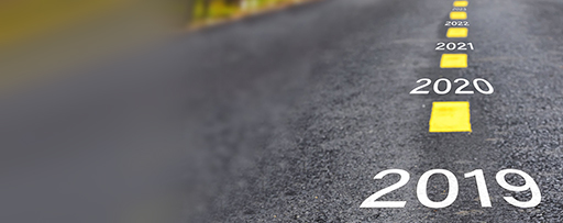 Year number markings on the road