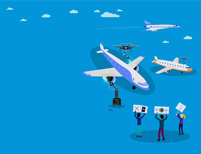Illustration of airplanes and drones flying in sky while people are holding placards