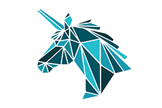 Blue unicorn vector polygonal triangular - illustration