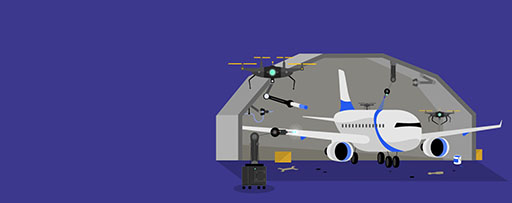 Drones repairing an aeroplane in shed illustration
