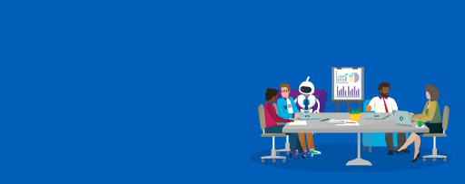 Four business people and a robot discussing in a meeting