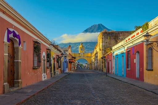 Guatemala street landscape in the afternoon sunset