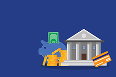 Illustration of bank building with debit/credit card, piggy bank, gold coin and dollar notes