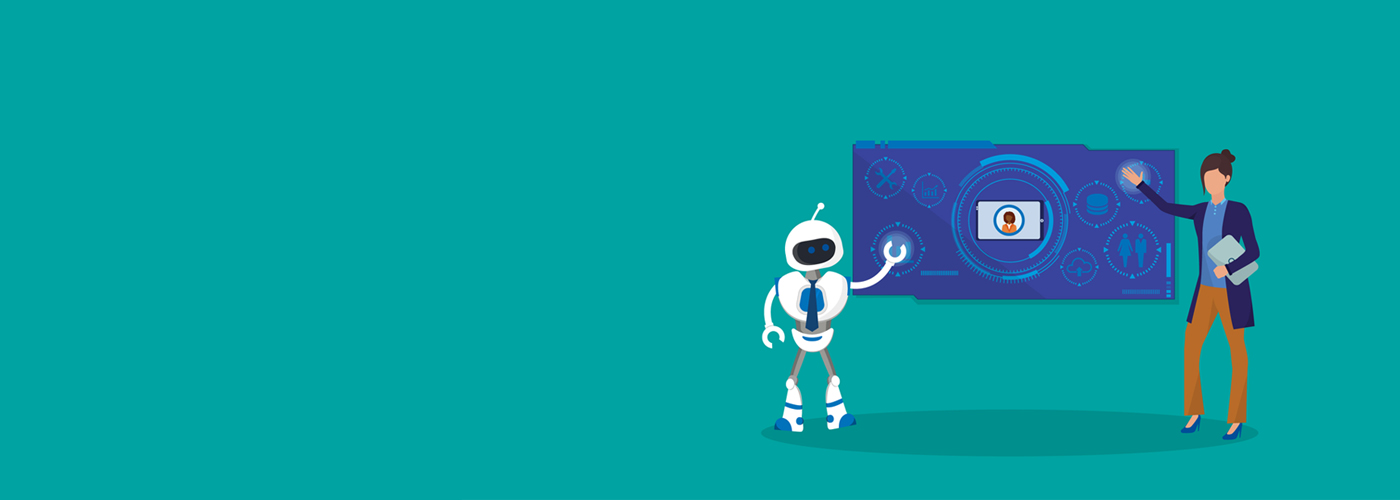 Illustration of a robot and a business woman pointing on digital board