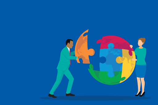 illustration-two-business-people-joining-puzzle-creates-globe