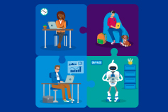 Illustration of 3 working business people and a robot