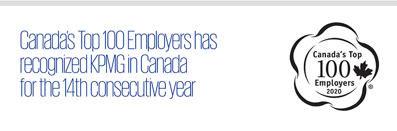 Canada's Top 100 Employers has recognized KPMG in Canada for the 14th consecutive year