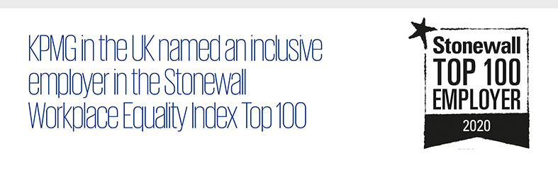 KPMG in the UK named an inclusive employer in the Stonewall Workplace Equality Index Top 100