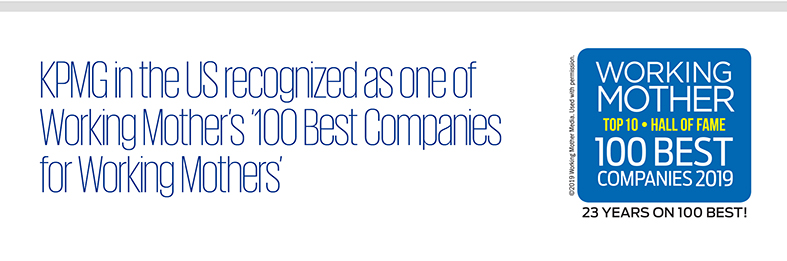 KPMG in the US recognized as one of Working Mother's 100 Best Companies for Working Mothers