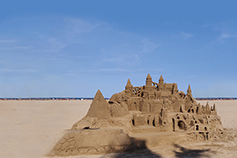 Huge sand castle far from sea