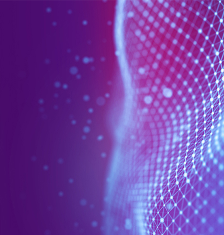 Wave of dots in grid purple blue background
