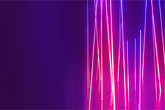 Pulse of Fintech banner with colorful light rays and reflection against purple background