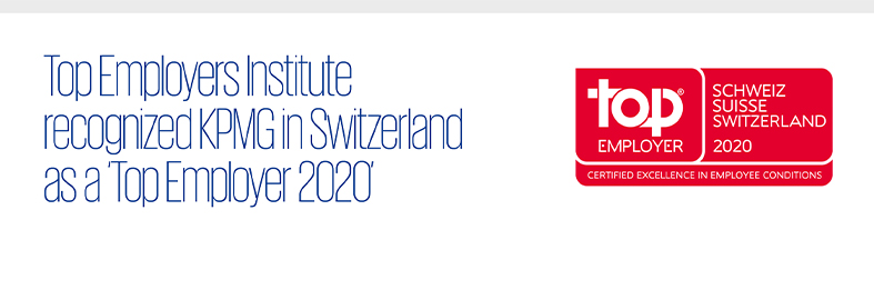 Top Employers Institute recognized KPMG in Switzerland as a 'Top Employer 2020'