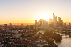 View of Frankfurt city at sunset