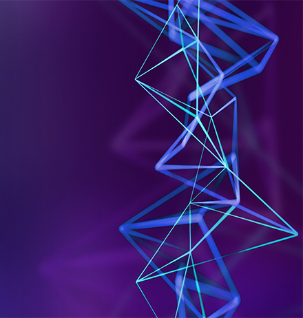 Light blue digital lines web pattern on blue-purple background