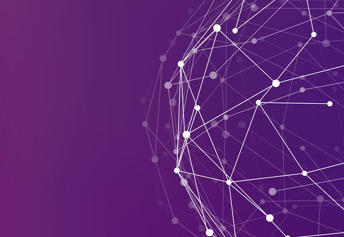 White connected dots' ball against purple background